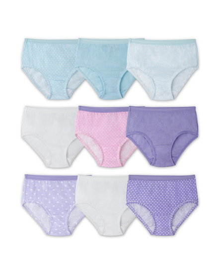 Girls' 9 Pack Assorted Color Brief Assorted Print and Color