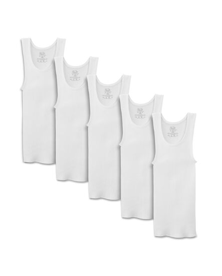 Fruit of the Loom Boys' Assorted White A-Shirt, 5 pack White