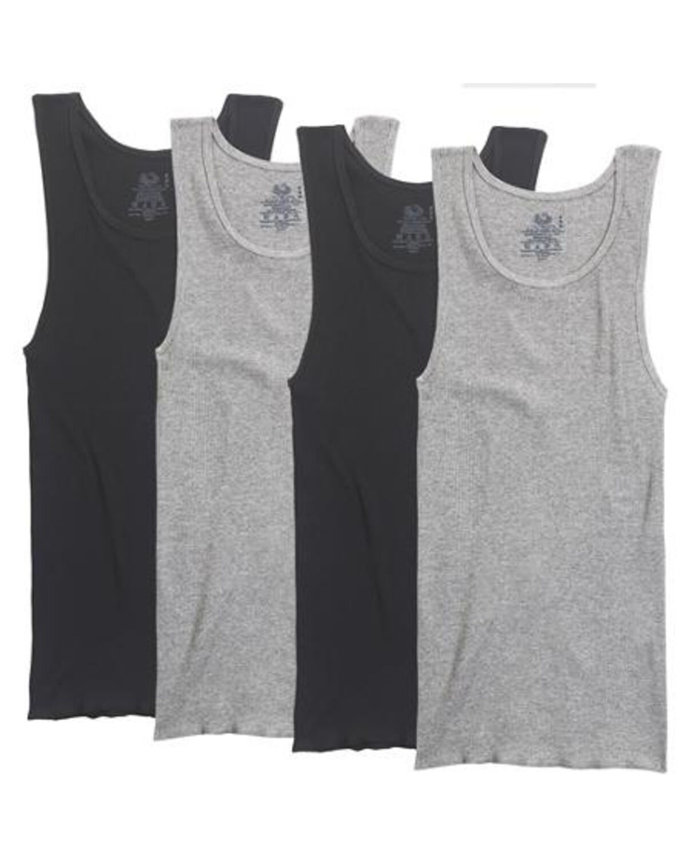 Men's 4 Pack Black/Gray A-Shirts - Fruit US