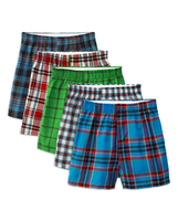 Fruit of the Loom Boys' Tartan Plaid Boxer, 5 Pack Assorted