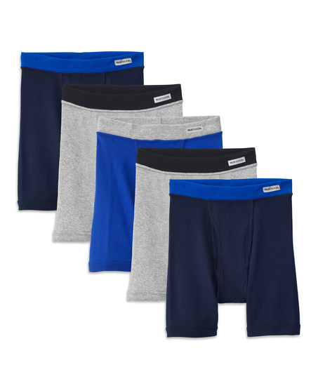Fruit of the Loom Boys' Covered Waistband Boxer Brief, 5 pack White