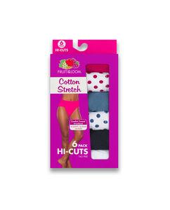 Women's 6 Pack Cotton Stretch Hi Cut