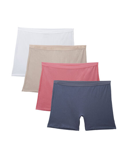 Fit for Me by Fruit of the Loom Women's 4 Pack Cotton Assorted Boxer Briefs Assorted