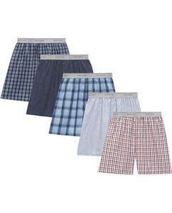 Men's 5 Pack Exposed Waistband Woven Boxer