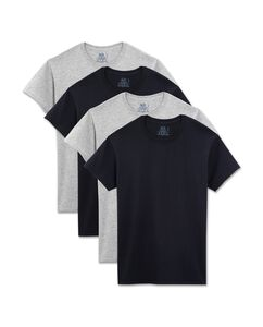 Men's 4 Pack Black and Grey Crew T-Shirt