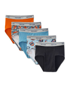 Fruit of the Loom Boys' Print/Solid Fashion Brief, 5 pack