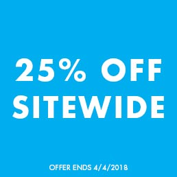25% off sitewide. Offer ends 4/4/2018.