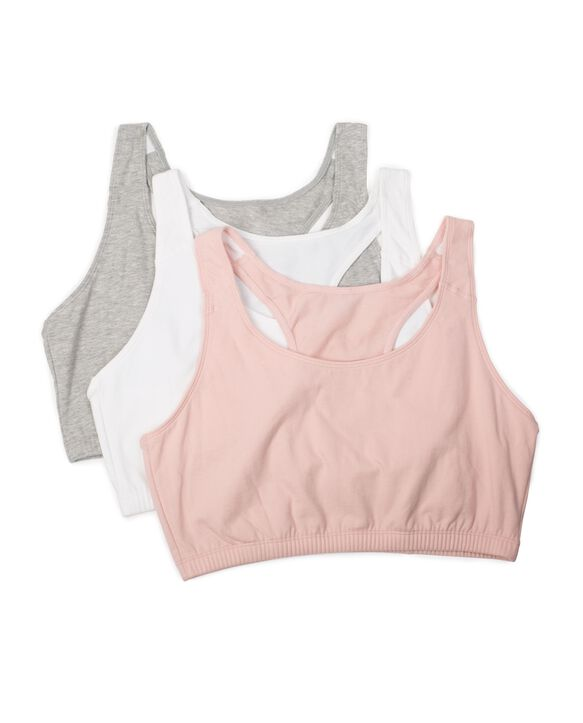 Women's Tank Style Sports Bra, 3 Pack BLUSHING ROSE/ WHITE/ HEATHER GREY