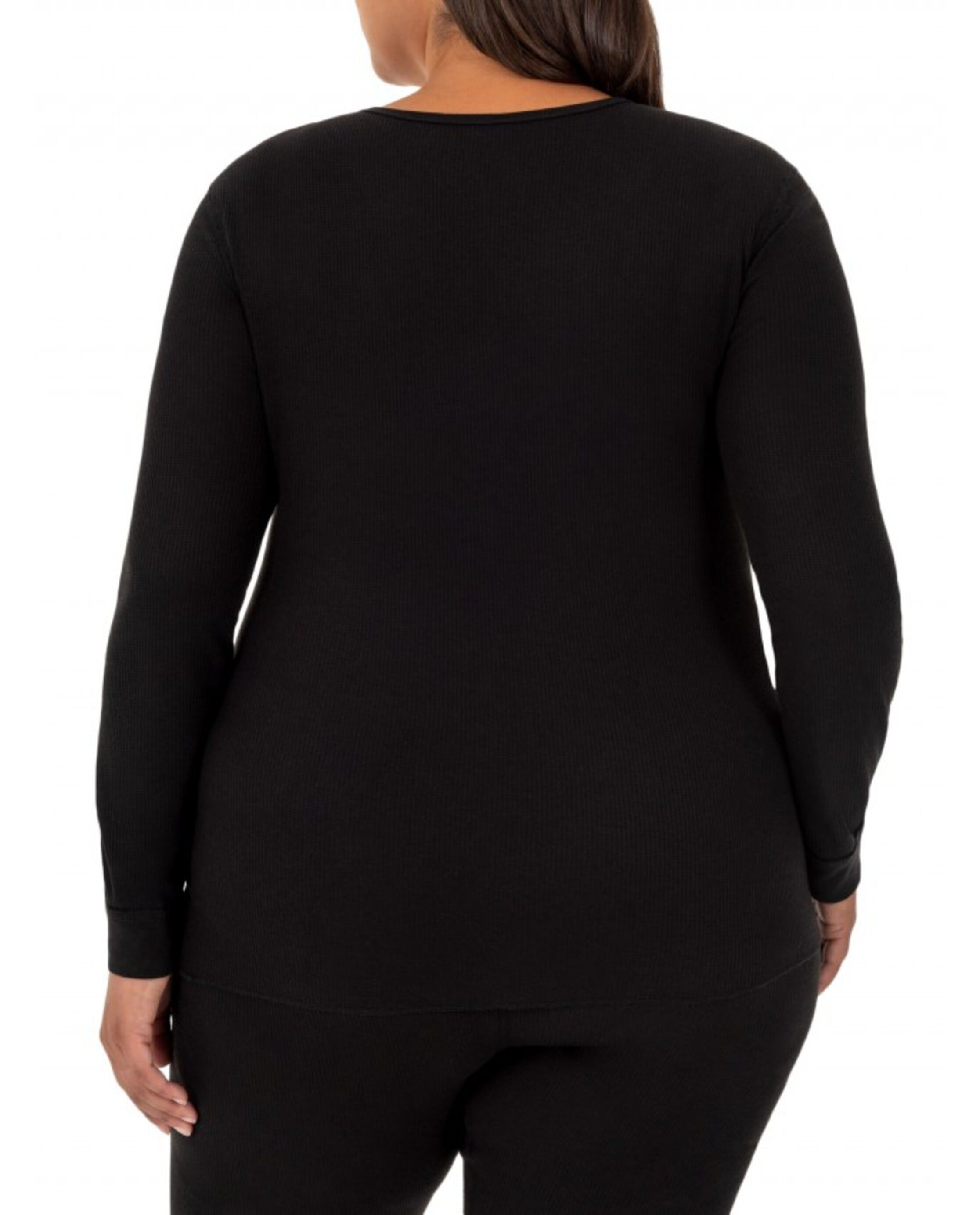 Fruit of the Loom Womens Plus Size Fit for Me Thermal Waffle V-Neck Top