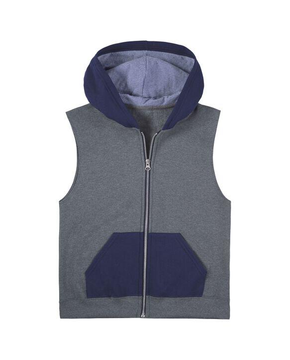 Boys' Fleece Full Zip Sleeveless Vest, 1 Pack Charcoal/Navy