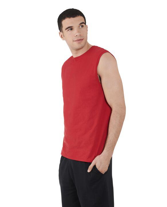 Big Men's Dual Defense UPF Sleeveless Muscle Shirt True Red
