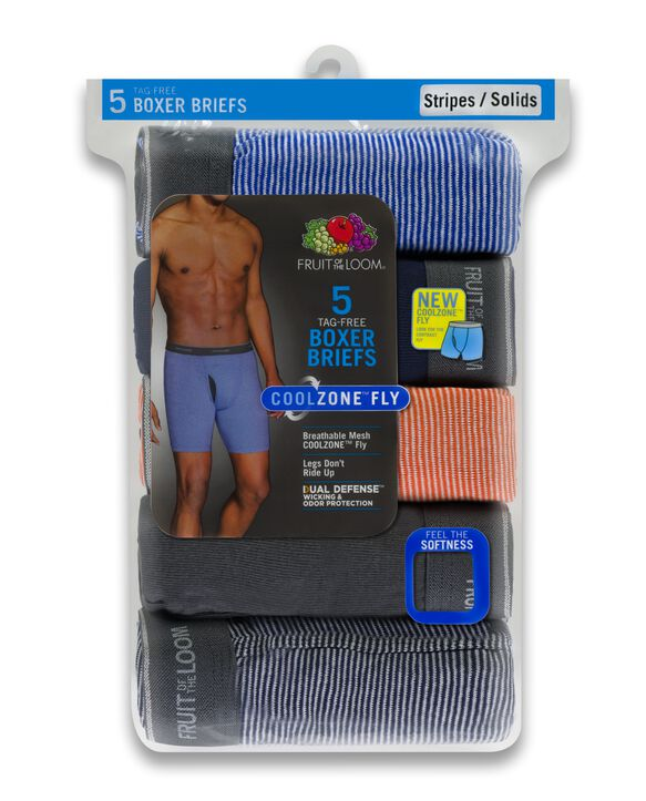 Men's CoolZone Fly Stripe and Solid Boxer Briefs, 5 Pack ASSORTED