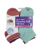 Girls' Everyday Soft Lightweight Low Cut Socks Pair, 10 Pack, Size 10.5-4 WHITE/PINK, WHITE/PURPLE, WHITE/GREEN, GREEN, PINK