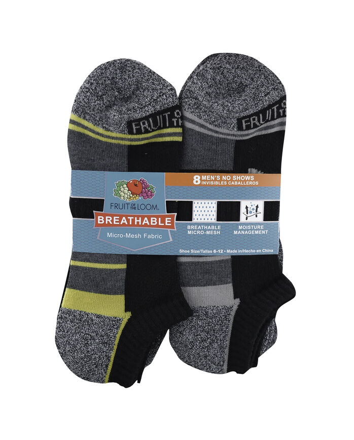 Men's Breathable No Show Socks Pair, 8 Pack WHITE, WHITE/MARL GREEN, WHITE/ORANGE MARL, GREY/R