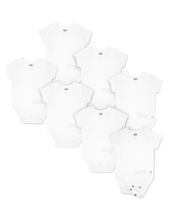 Baby Short Sleeve Grow & Fit Bodysuits, 7 Pack WHITE