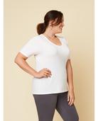 Women's Seek No Further Plus Size Short Sleeve V-Neck T-Shirt Pearl White