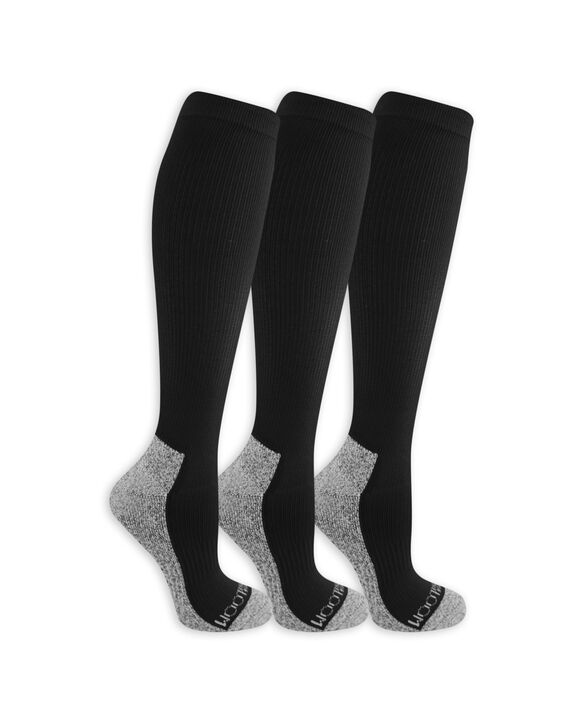 Women's On Her Feet Zoned Cushion Compression Knee High Socks, 2 Pack, Size 4-10 BLACK