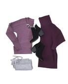 Women's Essentials Long Sleeve Scoop Neck T-Shirt, 1 Pack Beet Heather