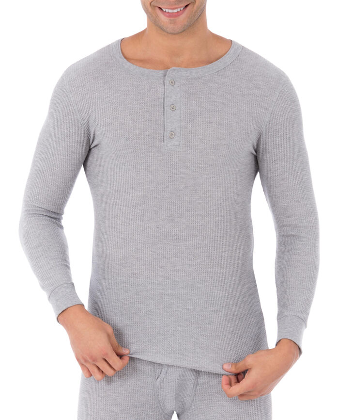 Men's Waffle Thermal Henley Top, 1 Pack LIGHT GREY HEATHER