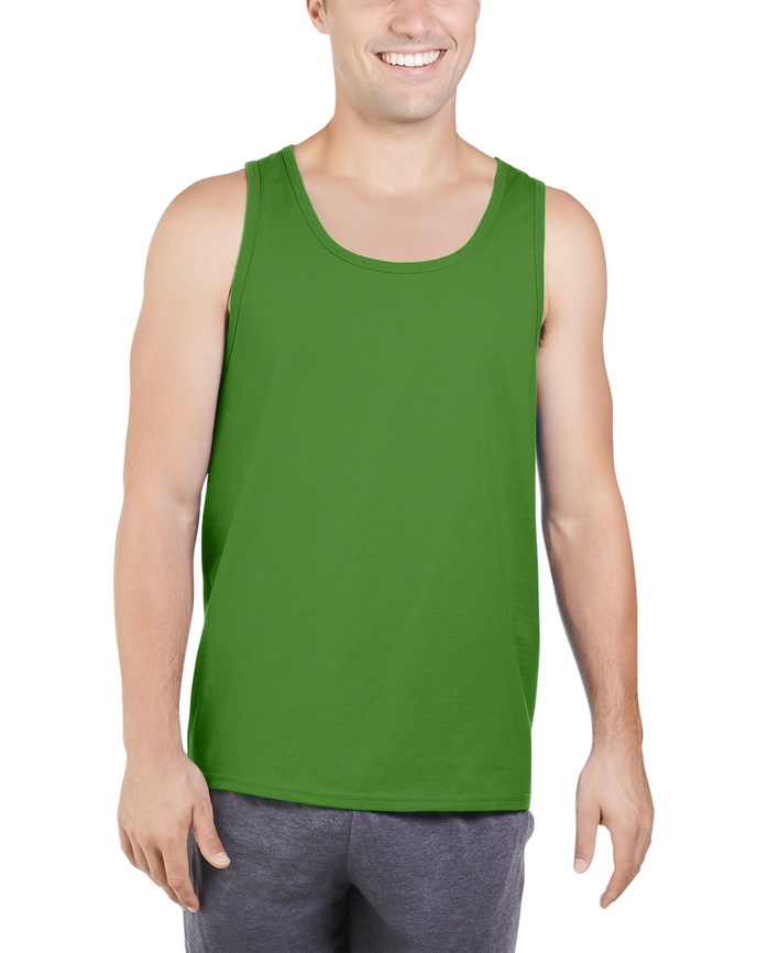 Big Men's Dual Defense UPF Sleeveless Tank Top Leaf Green