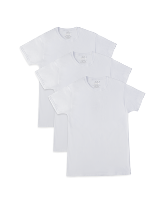 Men's Breathable Cooling Cotton White Crew Neck T-Shirts, 3 Pack