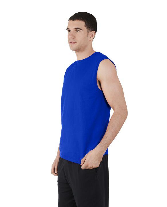 Men's Dual Defense UPF Sleeveless Muscle Shirt Cobalt