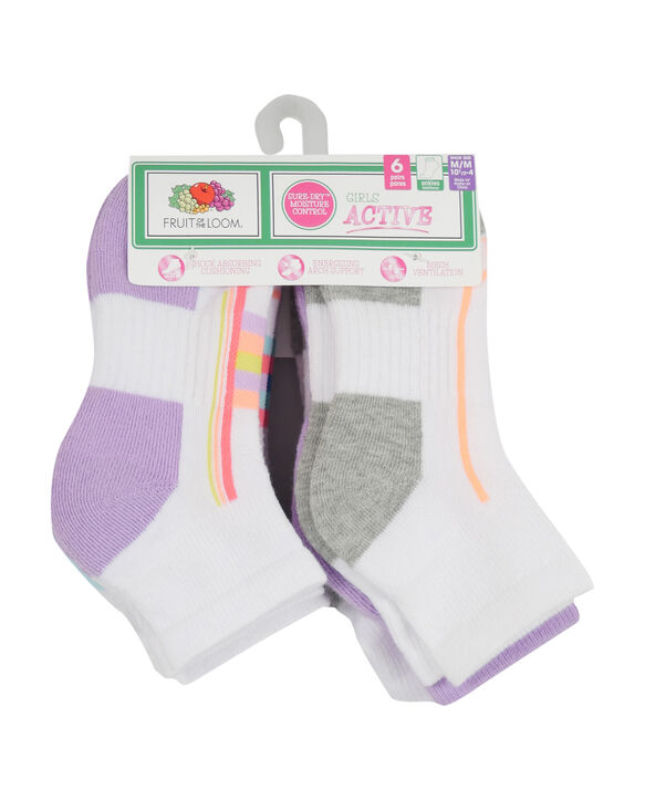 Girls' Active Cushioned Ankle Socks, 6 Pack WHITE/PURPLE, WHITE/BLUE, WHITE/GREEN, WHITE/ GREY, PURPLE