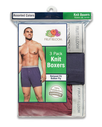 Men's Knit Boxers, 3 Pack