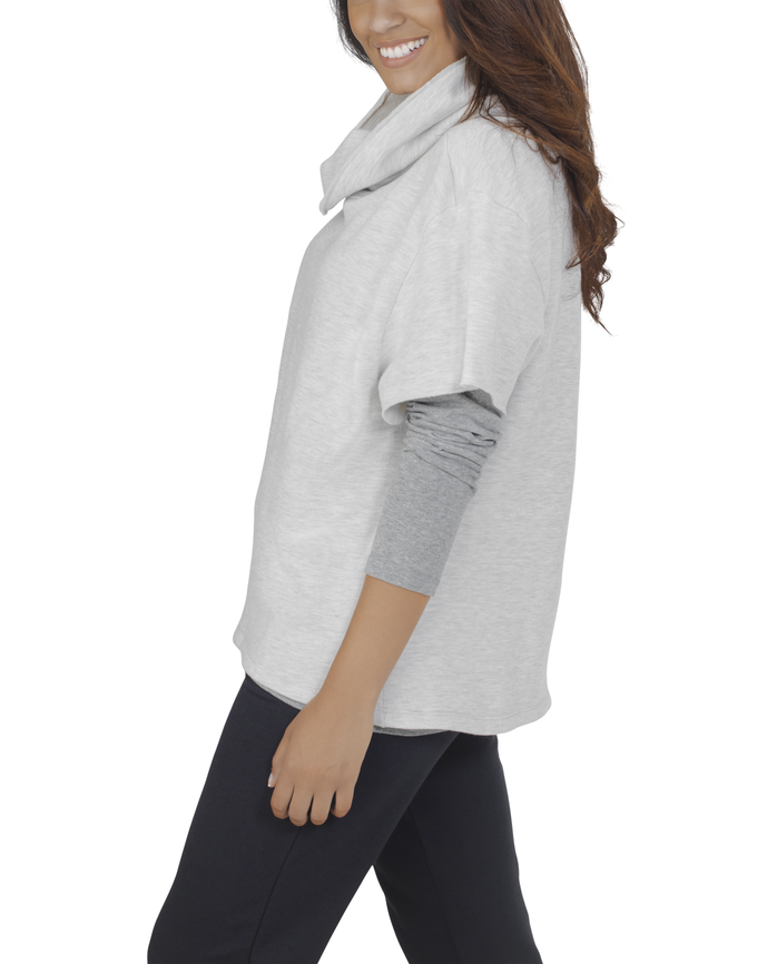Women's Essentials Cowl Neck Pullover, 1 Pack Oatmeal Heather