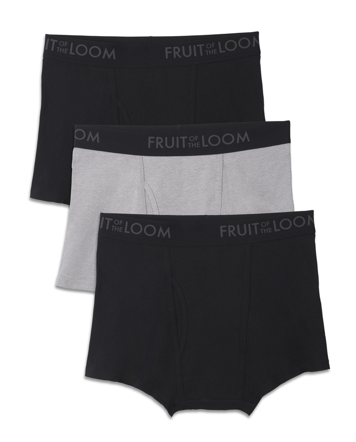 Men's Breathable Black and Gray Short Leg Boxer Brief, 3 Pack