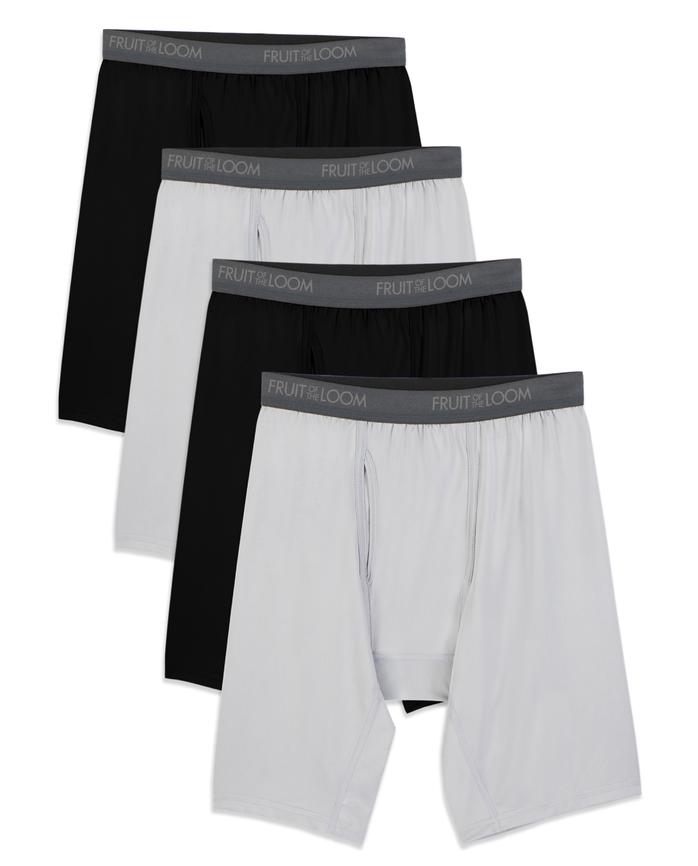 Big Men's Micro-Stretch Black/Gray Long Leg Boxer Briefs, 4 Pack