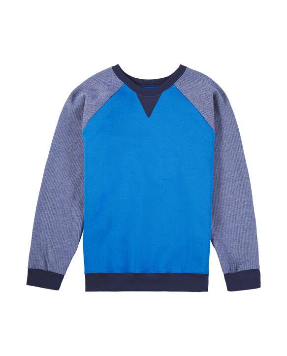 Boys' Fleece Raglan Crewneck Sweatshirt, 1 Pack Blue Stripe