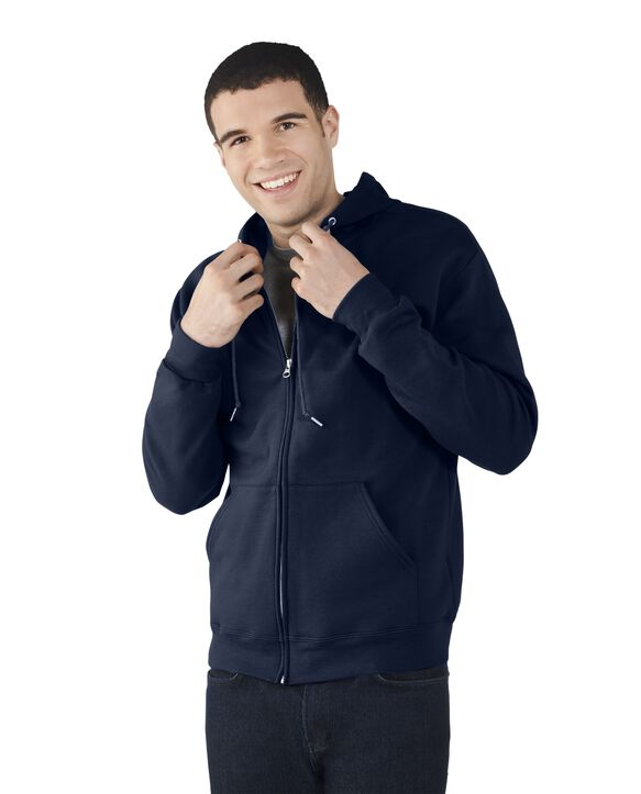 Men's EverSoft Fleece Full Zip Hoodie Jacket, Extended Sizes, 1 Pack Blue Cove