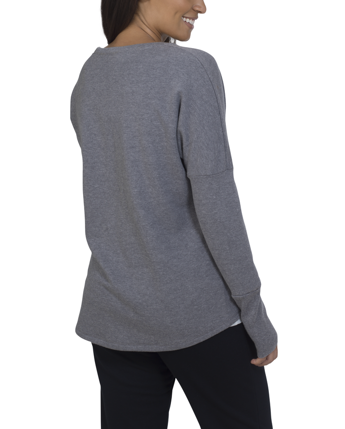 Women's Essentials Long Sleeve French Terry Top, 1 Pack Charcoal Heather