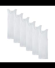 Men's Dual Defense White A-Shirts, 6 Pack
