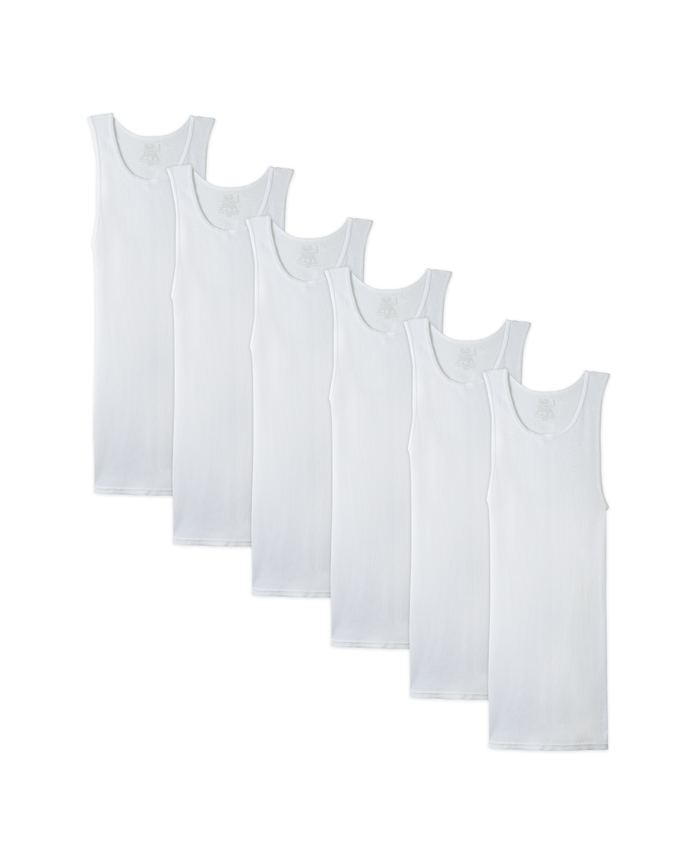Men's Dual Defense White A-Shirts, 6 Pack