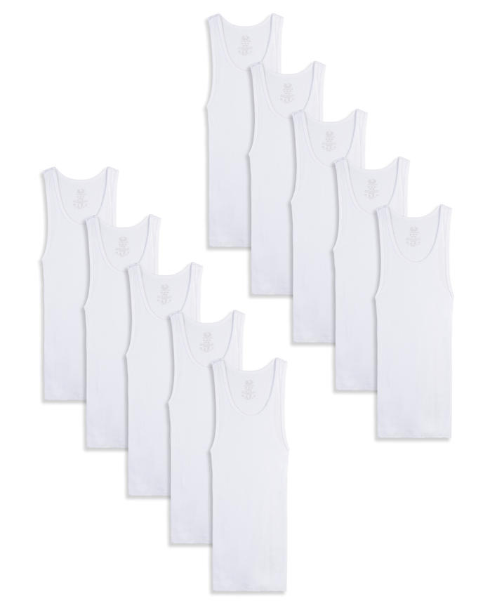 Boys' White A-Shirts, 10 Pack