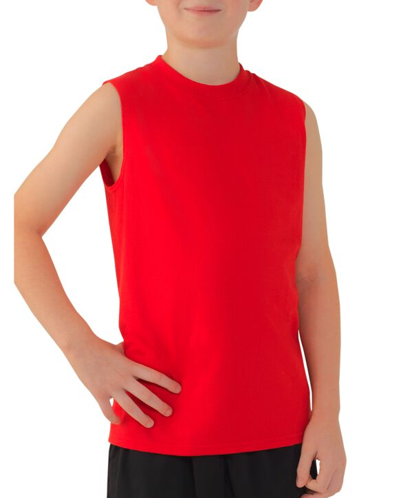 Boys' Sleeveless T-Shirt, 2 Pack Red