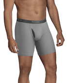 Men's CoolZone Fly Black and Gray Boxer Briefs, Extended Sizes, 4 Pack ASSORTED