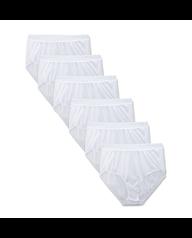 Women's White Nylon Brief, 6 Pack White