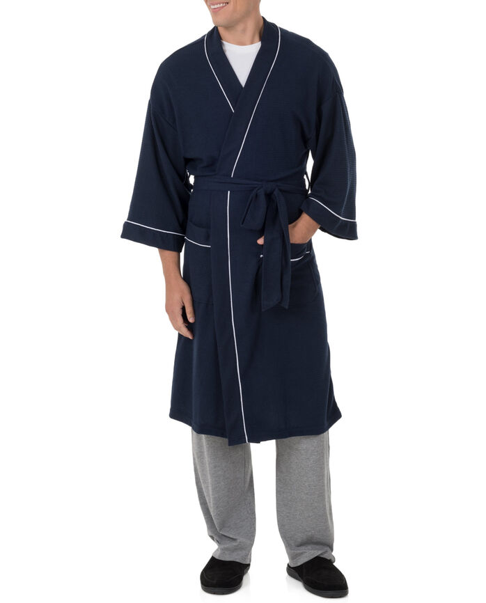 Fruit of the Loom Men's Soft Touch Waffle Robe NAVY