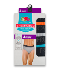Men's Breathable Micro-Mesh Assorted Color Briefs, 4 Pack Assorted