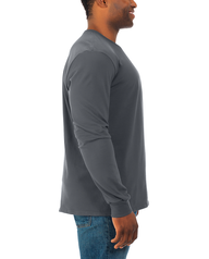 Men's Soft Long Sleeve Crew Neck T-Shirt, 2 Pack Charcoal