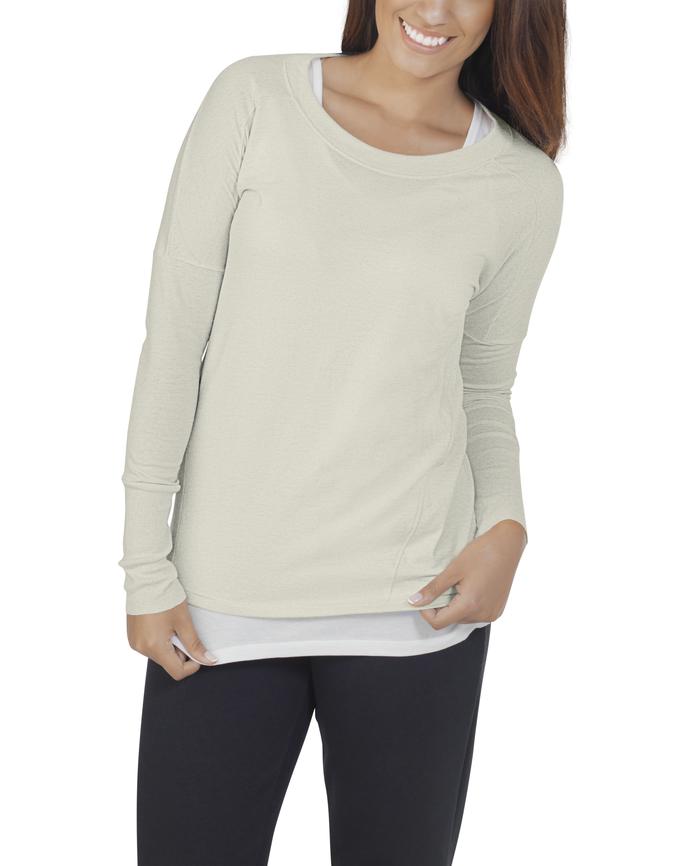 Women's Essentials Long Sleeve Scoop Neck T-Shirt, 1 Pack White Fleck