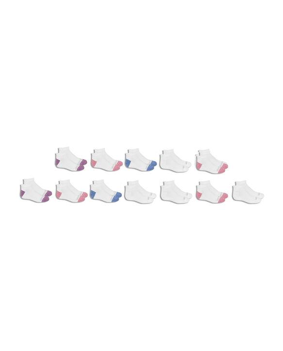 Girls' Cushioned Low Cut Socks, 10 Pack WHITE/LIGHT BLUE, WHITE/DARK BLUE, WHITE/PINK, WHITE