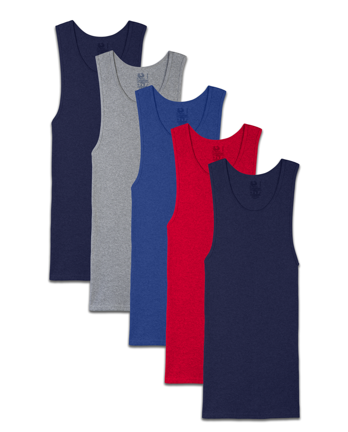Men's Dual Defense® Assorted A-Shirts, 5 Pack