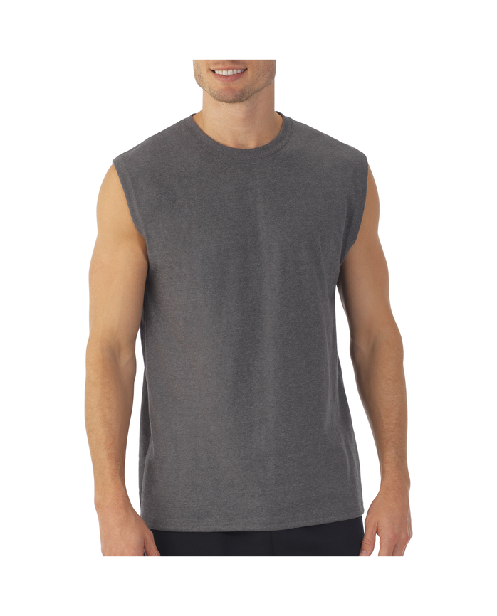 Men's Dual Defense® UPF Muscle Shirt, 1 Pack, Extended Sizes Charcoal Heather