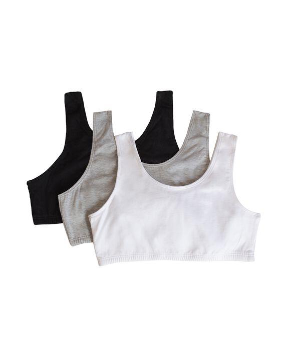 Girls' Cotton Stretch Sports Bra, 3 Pack BLACK/WHITE/HEATHER GREY