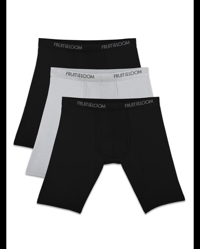 Men's Premium Luxe Black/Gray Long Leg Boxer Briefs, 3 Pack