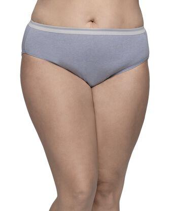 Women's Plus Fit for Me Heather Cotton Hi-Cut Panty, 6 Pack